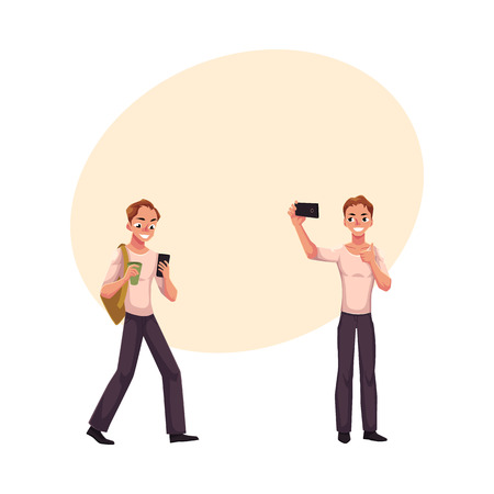 Young man using smartphone on the go, making selfie with mobile phone, cartoon vector illustration with space for text.