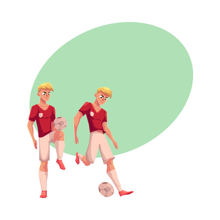jersey: Handsome blond soccer player dribbling a ball, cartoon vector illustration with space for text. Illustration