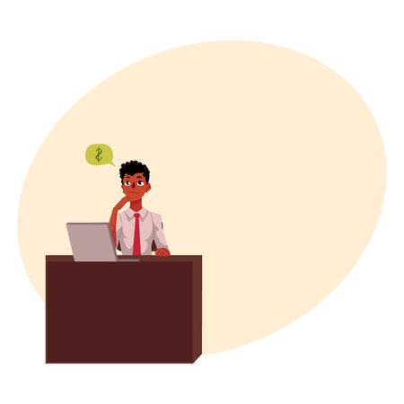 ブラックは、アフリカ系アメリカ人の実業家、マネージャー、事務机、テキスト用のスペースと漫画ベクトル図の金融アナリスト。黒の実業家、労
