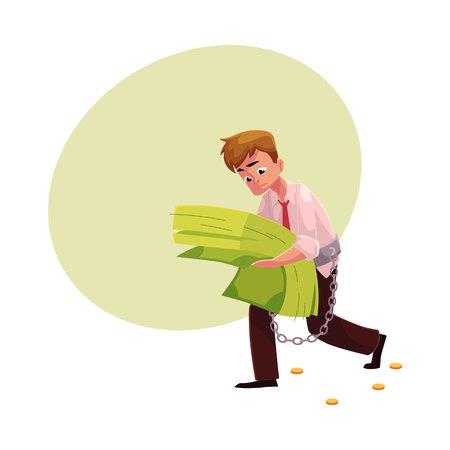 손, 금융, 돈 의존, 만화 벡터 일러스트 레이 션을위한 공간에서 지폐의 무거운 번들을 운반하는 남자. 그가 손에 든 지폐의 과도한 묶음에 묶인 남자