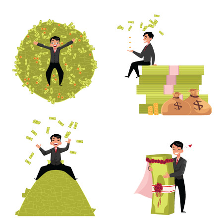Reach businessman, marrying to money, lying and sitting on it, throwing banknotes in the air, cartoon vector illustration isolated on white background. Happy reach businessman enjoying his wealth