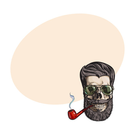 whiskers: Human skull with hipster beard, wearing aviator sunglasses, smoking pipe, sketch vector illustration with space for text. Hand drawing of human skull with hipster hair, beard and whiskers Illustration
