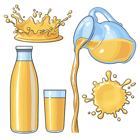 Splashing and pouring orange juice in bottle, glass, jug, sketch vector illustration isolated on white background. Hand drawn glass, bottle with orange juice and juice pouring from jug Ilustrace