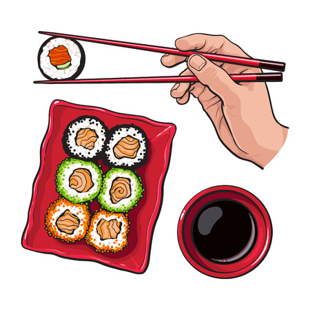 Eating sushi - human hand with chopsticks and soy sauce bowl, sketch vector illustration isolated on white background. Soy sauce and hand holding chopsticks and sushi, roll, realistic hand drawing