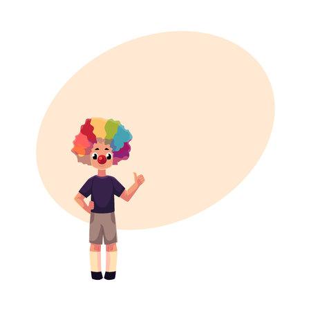 광대 코와 무지개를 입고 어린 소년 컬러가 발 위에 엄지 손가락, 텍스트위한 공간 만화 벡터 일러스트 레이 션을 표시합니다. 광대 빨간 코와 가발을