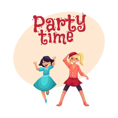 Twee meisjes die bij partij, in blauwe kleding, een andere dragende rok en beenkappen, beeldverhaal vectorillustratie met ruimte voor tekst dansen. Gelukkige meisjes dansen, plezier maken op een kinderfeestje