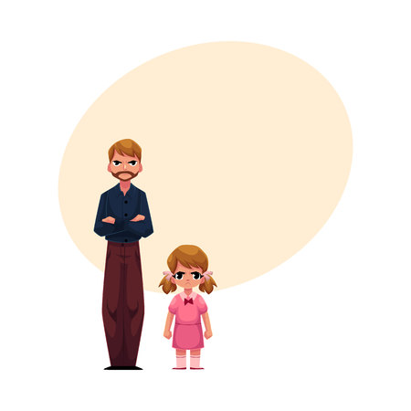 Young man and little girl, father and daughter standing with frowned, angry faces, cartoon vector illustration with space for text. Frowning father and daughter standing angry with each other Иллюстрация