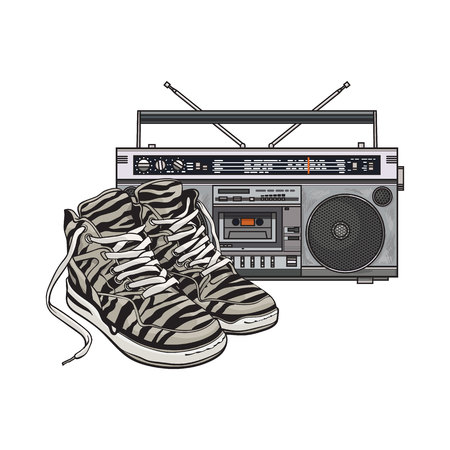 Pair of zebra sneakers and audio tape recorder, boom box from 90s, retro icons, sketch vector illustration isolated on white background. Retro style sneakers and tape recorder from nineties Stock Illustratie