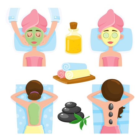 Set of spa salon precedures and accessories, cartoon vector illustration on white background. Top view picture of woman getting back, facial mask and massage, spa salon treatments and accessories