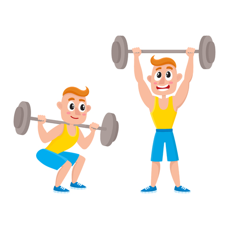 Young man training with barbell - squatting, doing shoulder press, weightlifting, bodybuilding in gym, cartoon vector illustration isolated on white background. Cartoon man, guy training with barbell