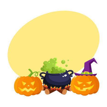 Hallowing symbols, pumpkin jack o lanterns and black iron caldron with boiling green potion cartoon vector illustration with space for text. Two Halloween pumpkin lanterns and caldron on fire