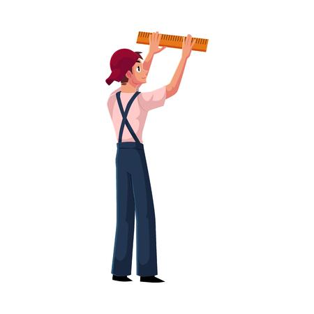 建設労働者、定規、白い背景で隔離の漫画ベクトル図で均一な測定壁のビルダー。建設現場で何かを測定するビルダーの完全な長さの肖像画  イラスト・ベクター素材