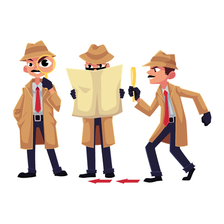 Detective character with magnifying glass, sleuthing, disguising, cartoon vector illustration isolated on white background. Funny detective character set Ilustracja