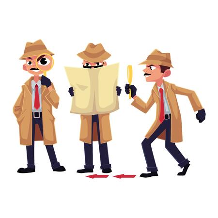 Personagem de detetive com lupa, investigando, disfarçando, ilustração vetorial dos desenhos animados, isolada no fundo branco. Conjunto de caracteres de detetive engraçado