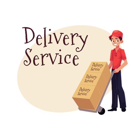 Delivery service banner with portrait of worker with hand cart, dolly loaded with boxes, cartoon vector illustration isolated on white background, clipboard and package