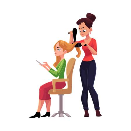 スマート フォンは、白い背景で隔離の漫画ベクトル図を使用して、ブロンドの女性の長い髪を乾燥の美容師。ヘアブラシとドライヤー付き彼女のク  イラスト・ベクター素材