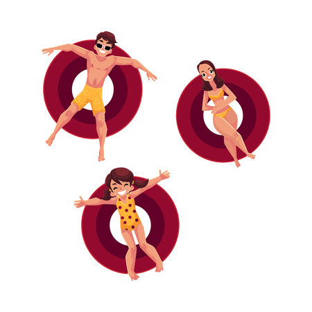Caucasian woman, man and little girl floating on inflatable rings, top view cartoon vector illustration isolated on white background. Man, woman and girl swimming on inflatable rings Illustration