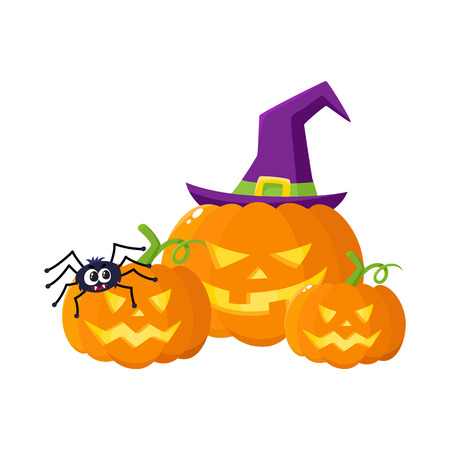 Three Hallowing jack o lanterns, pumpkins, big and small, in pointed witch hat, cartoon vector illustration isolated on white background. Three Halloween pumpkin, jack o lantern in pointed wizard hat Illustration