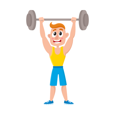 Young man doing shoulder press with barbell, training, weightlifting in gym, cartoon vector illustration isolated on white background. Cartoon man, guy training with barbell, bodybuilding in gym Иллюстрация