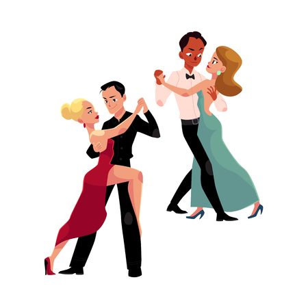 Two couples of professional ballroom dancers dancing, looking at each other, cartoon vector illustration isolated on white background. Two ballroom dance couples dancing tango, waltz, rumba Illustration