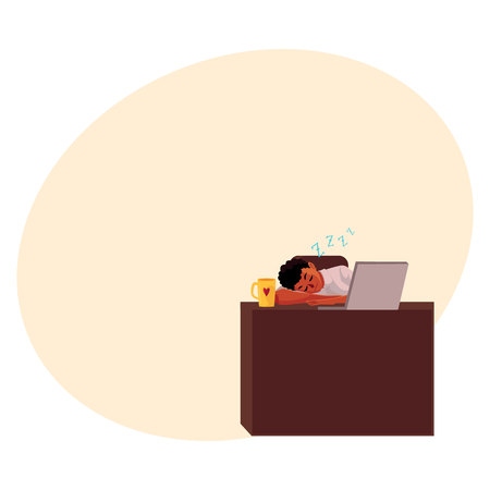 Black, African American businessman, manager sleeping at office desk, on workplace, cartoon vector illustration with space for text. Black businessman, worker, employee sleeping in office Illustration