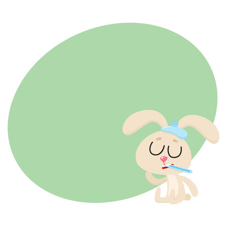 Sick baby rabbit having cold, flu, sitting with ice pack and thermometer, cartoon vector illustration with space for text. Sick little rabbit with ice pack and thermometer, having flu, fever