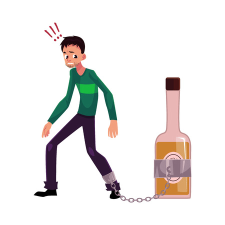 Unshaven man standing with leg chained to bottle of liquor, alcohol dependence, cartoon vector illustration isolated on white background.