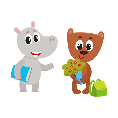 Cute animal student characters, bear with bunch of flowers, hippo holding book, cartoon vector illustration isolated on white background. Illustration