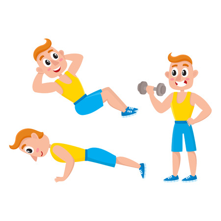 Young man doing sport exercises, training, weightlifting, doing sit-ops, push-ups, cartoon vector illustration isolated on white background.