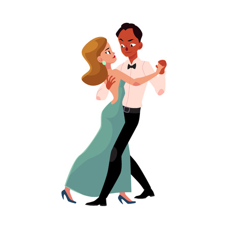 Couple of professional ballroom dancers, Caucasian woman, black man, looking at each other, cartoon vector illustration isolated on white background. Ballroom dance couple dancing waltz, salsa, rumba