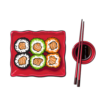 Plate of Japanese sushi, rolls, chosticks and soy sauce bowl, top view hand drawn, sketch style vector illustration isolated on white background.