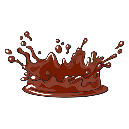 Side view splash, drop of chocolate, realistic hand drawn, sketch style vector illustration isolated on white background.