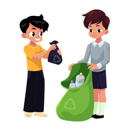 子供たちは、男の子は、コンセプトは、白い背景で隔離の漫画ベクトル図をリサイクル廃棄物ゴミ袋にペットボトルを収集します。