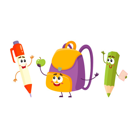 ball pens stationery: Lindo y divertido sonriente pluma, lápiz, personajes de mochila, concepto de regreso a la escuela, ilustración vectorial de dibujos animados aislado sobre fondo blanco.