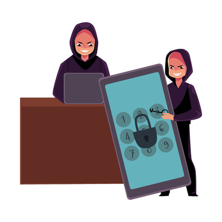 Young man in black hoodie hacking system using laptop, cracking smartphone pin code, cartoon vector illustration isolated on white background. Illusztráció
