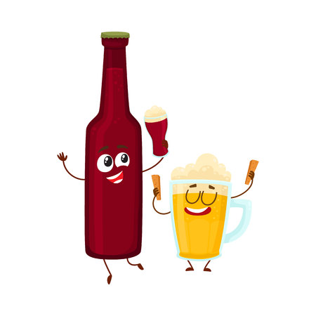 Funny beer bottle and glass characters having fun, drinking, holding glasses, cartoon vector illustration isolated on white background. Illustration