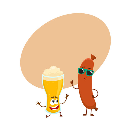 Funny beer glass and frankfurter sausage characters having fun together, cartoon vector illustration with space for text.