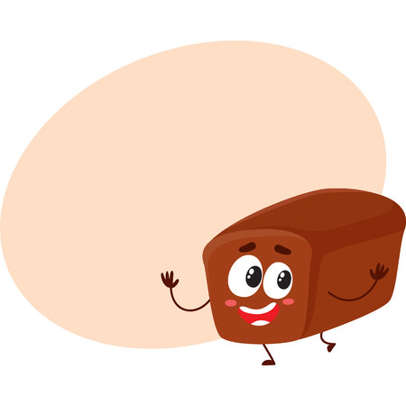 Funny whole wheat, dark, brown bread loaf character with smiling human face, cartoon vector illustration with space for text.
