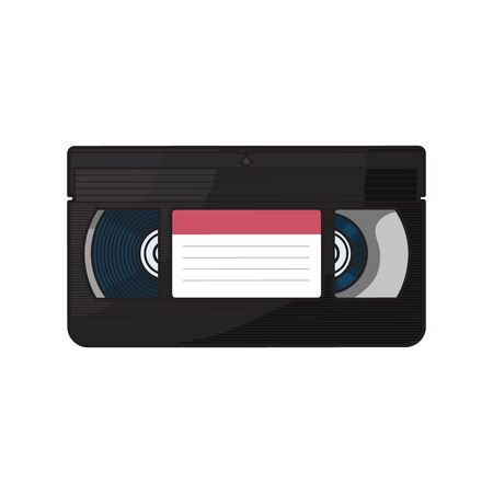 Video cassette videotape from 90s, sketch vector illustration isolated on white background. Front view of hand drawn video tape, videocassette,  empty label sticker, retro object from 90s