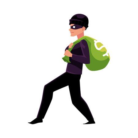 도둑, 강도, 돈 가방, 흰색 배경에 고립 된 만화 벡터 일러스트와 함께 탈출하려고 도둑. 도난, 도둑, 검은 위장에 강도가 돈 가방을 훔치는 전체 길이