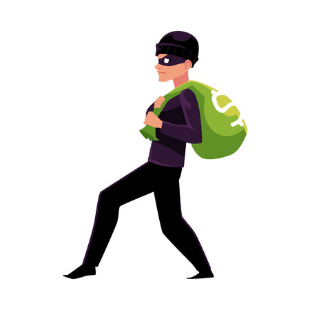 Thief, robber, burglar trying to escape with a money bag, cartoon vector illustration isolated on white background. Full length portrait of burglar, thief, robber in black disguise stealing money bag Illustration