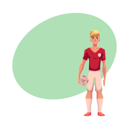 Handsome blond football, soccer player in uniform standing and holding ball, cartoon vector illustration with space for text. Professional soccer player holding football ball, front view