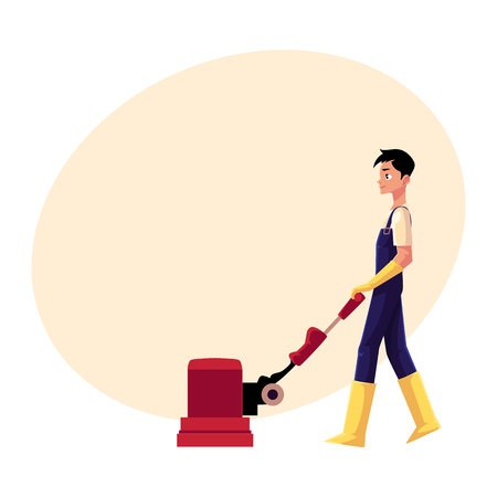 Cleaning service boy, man, cleaner in overalls using floor cleaning machine, side view cartoon vector illustration with space for text. Cleaning service boy with floor washing machine