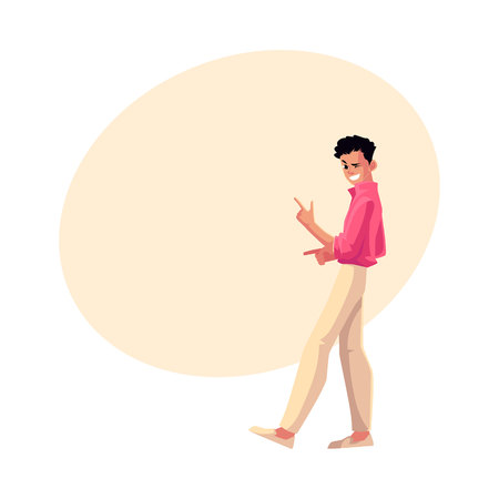Man, guy in 1980s style clothes winking, dancing disco, cartoon vector illustration with space for text. Full length portrait of man in 80s style clothing dancing at retro disco party Ilustração