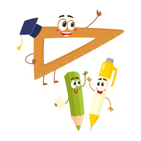 Leuke en grappige lachende pen, potlood, liniaal karakters, terug naar school concept, cartoon vectorillustratie geïsoleerd op een witte achtergrond. Gelukkige schoolkarakters, mascottes - liniaal, pen en potlood
