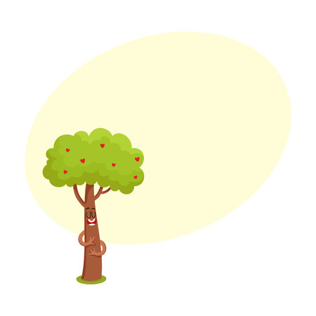 Funny comic tree character hugging itself, heart in leaves, symbol of love, cartoon vector illustration with space for text. Funny tree character, mascot with smiling human face showing love Ilustrace
