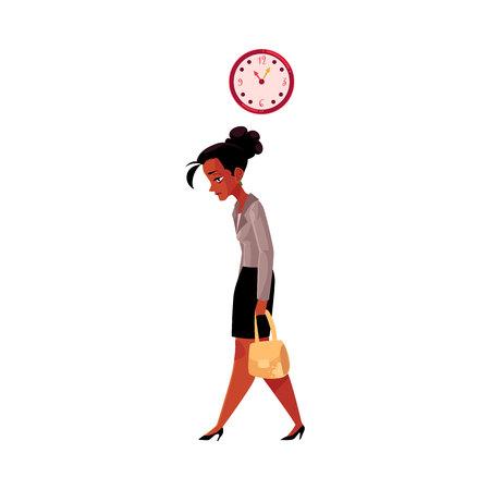 Moe zwarte, Afro-Amerikaanse zakenvrouw, naar huis gaan na het werk, klok weergegeven: tijd, cartoon vectorillustratie geïsoleerd op een witte achtergrond. Zwarte zakenvrouw verdrietig, moe, naar huis gaan van het werk