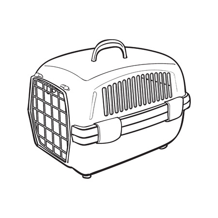 Plastic pet travel carrier for transporting cats, dogs, sketch style vector illustration isolated on white background. Hand drawn plastic pet carrier, transport, housing on white background Çizim
