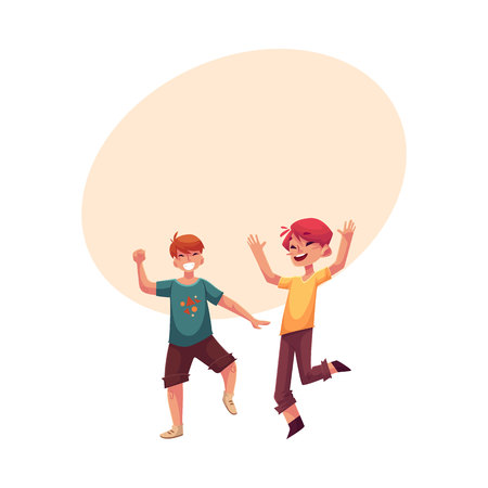 Two funny boys, kids having fun, dancing at party, cartoon vector illustration with space for text. Happy boys dancing, jumping at a kids, birthday party, having fun