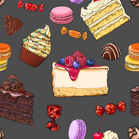 Seamless pattern of hand drawn cakes, candies, macaroons, cupcakes, sketch vector illustration. Seamless pattern, backdrop, background, wrapping paper, textile design with various sweets and desserts
